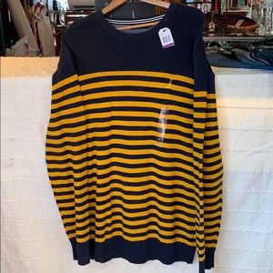 Nautica sweater blue with yellow stripes. NWT
